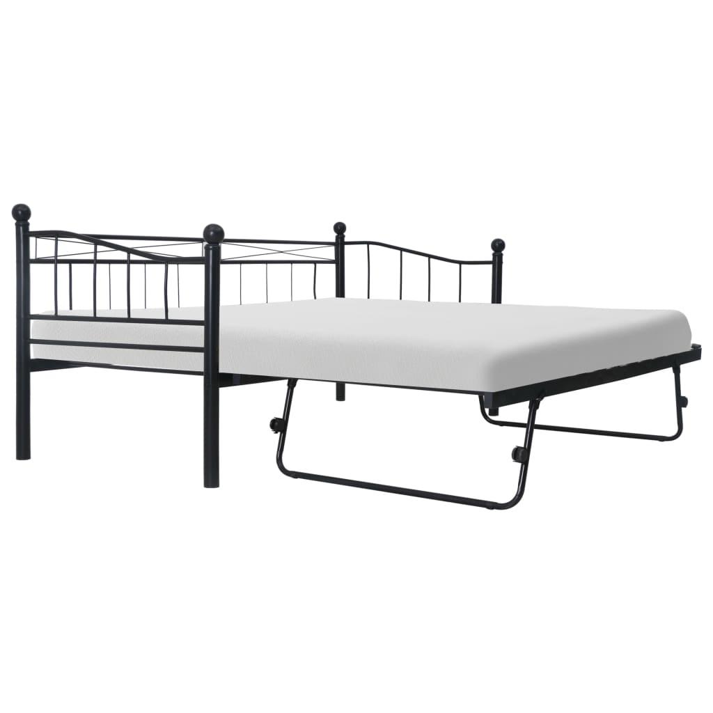 vidaXL Bedframe staal zwart 180x200-90x200 cm