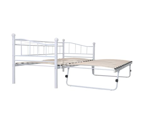 vidaXL Bed Frame White Steel 180x200/90x200 cm