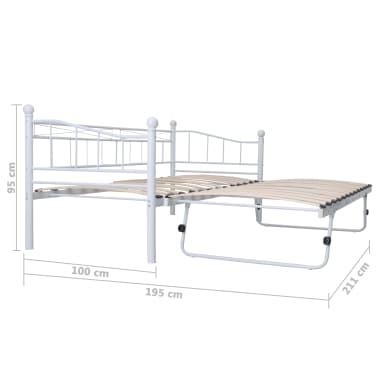 vidaXL Bedframe staal wit 180x200/90x200 cm[8/8]