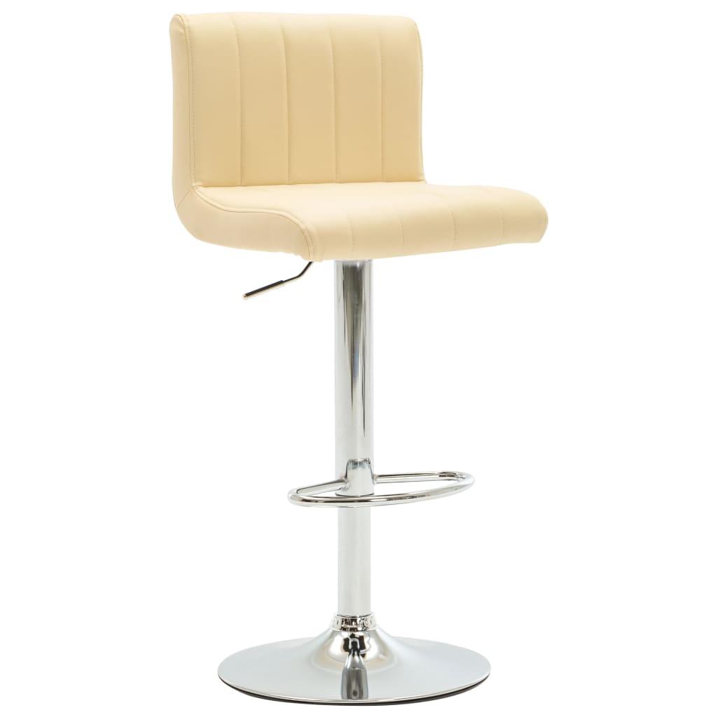 Barová stolička krémová umělá kůže