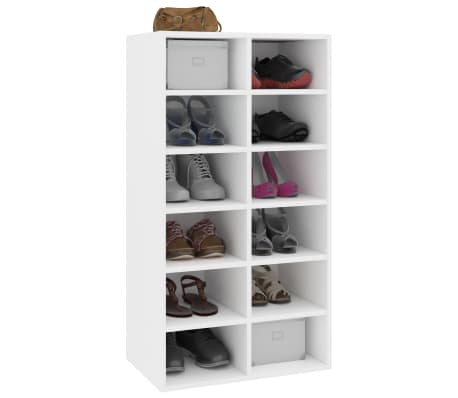 "vidaXL Shoe Rack White 21.5""x13.3""x39.3"" Chipboard[3/6]"