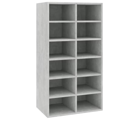 "vidaXL Shoe Rack Concrete Gray 21.5""x13.3""x39.3"" Chipboard[2/6]"
