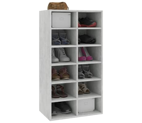 "vidaXL Shoe Rack Concrete Gray 21.5""x13.3""x39.3"" Chipboard[3/6]"