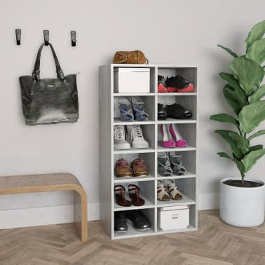 "vidaXL Shoe Rack Concrete Gray 21.5""x13.3""x39.3"" Chipboard[1/6]"