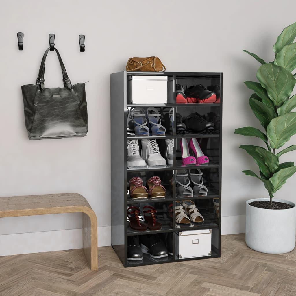 vidaXL Pantofar, negru extralucios, 54x34x100 cm, PAL vidaxl.ro