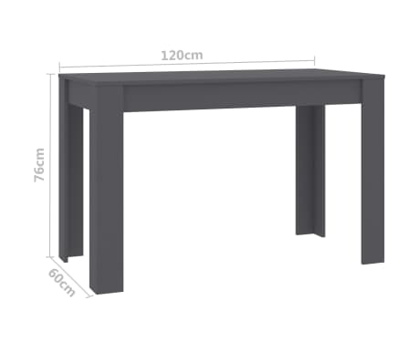 "vidaXL Dining Table Gray 47.2""x23.6""x29.9"" Chipboard[6/6]"