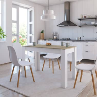 """vidaXL Dining Table White and Sonoma Oak 47.2""""x23.6""""x29.9"""" Chipboard[1/6]"""