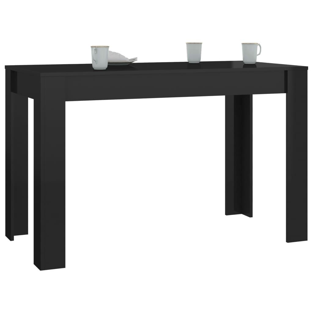 vidaXL Eettafel 120x60x76 cm spaanplaat hoogglans zwart