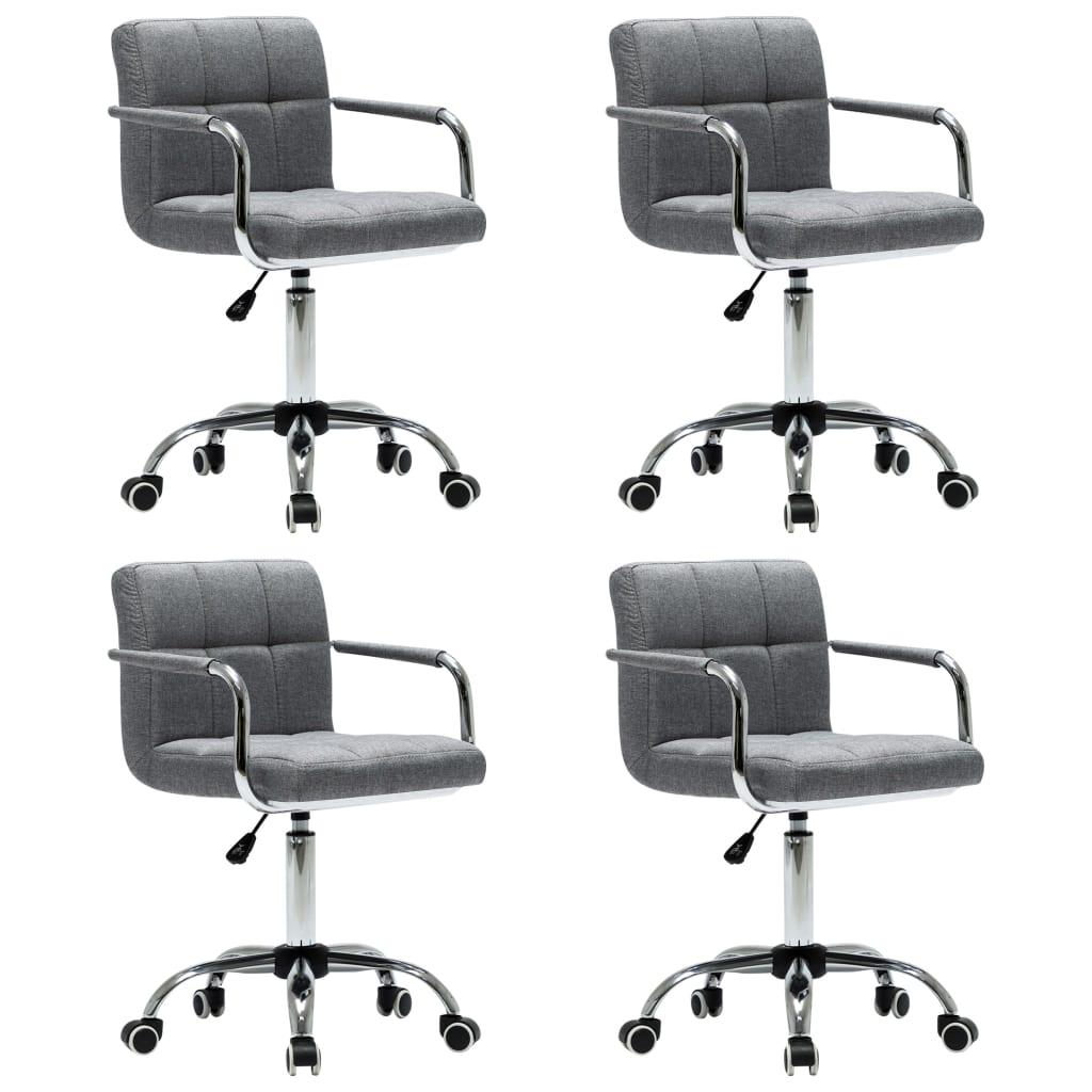 vidaXL Καρέκλες Τραπεζαρίας Περιστρεφόμενες 4 τεμ Αν. Γκρι Υφασμάτινες