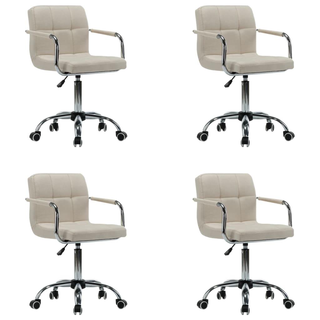 vidaXL Καρέκλες Τραπεζαρίας Περιστρεφόμενες 4 τεμ. Κρεμ Υφασμάτινες