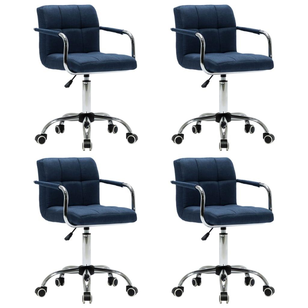 vidaXL Καρέκλες Τραπεζαρίας Περιστρεφόμενες 4 τεμ. Μπλε Υφασμάτινες