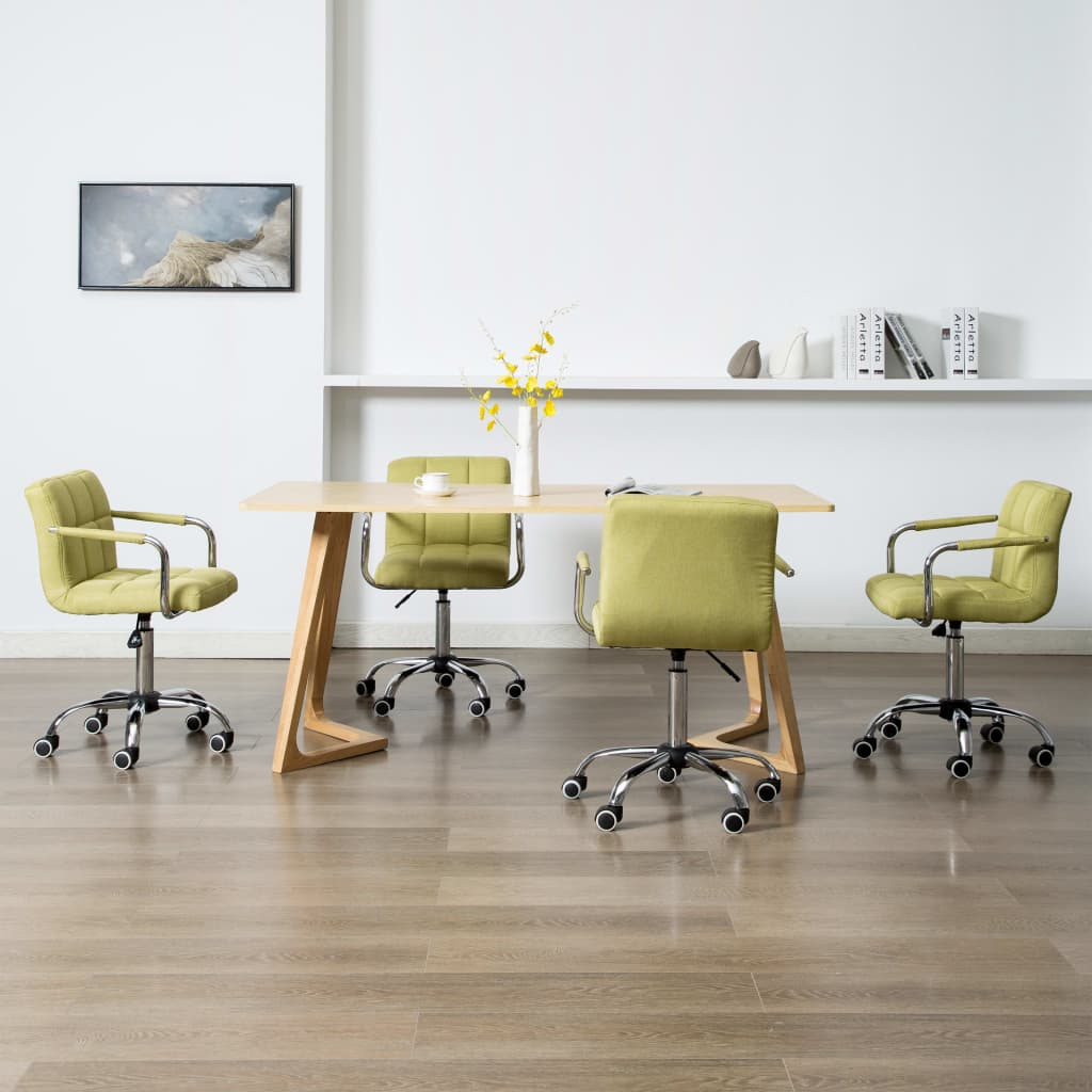 vidaXL Scaune de sufragerie pivotante, 4 buc., verde, material textil imagine vidaxl.ro