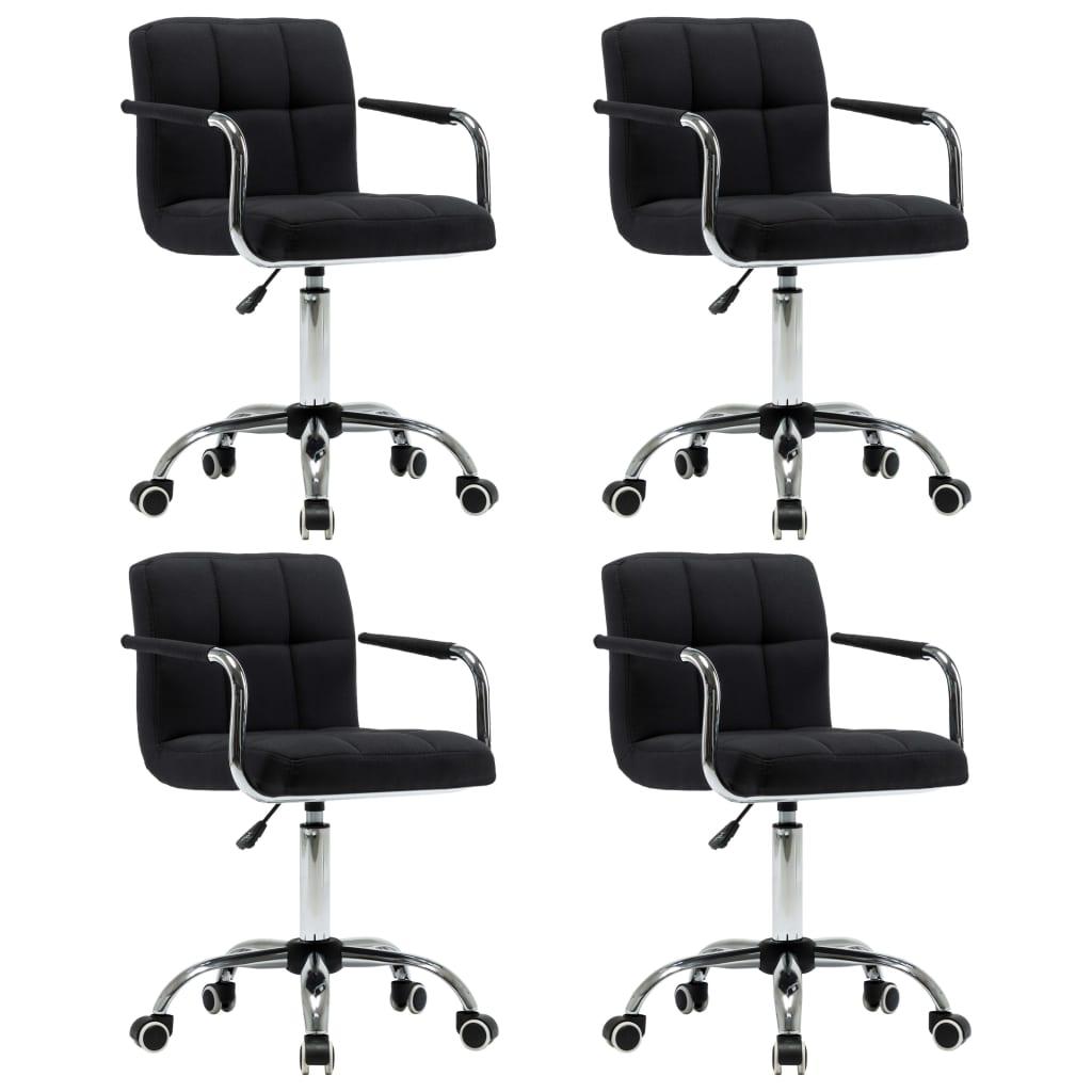 vidaXL Καρέκλες Τραπεζαρίας Περιστρεφόμενες 4 τεμ. Μαύρες Υφασμάτινες