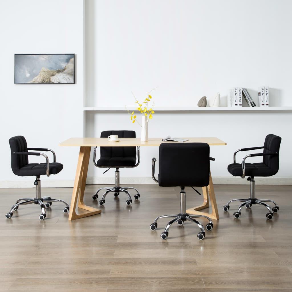 vidaXL Scaune de masă pivotante, 4 buc., negru, material textil imagine vidaxl.ro