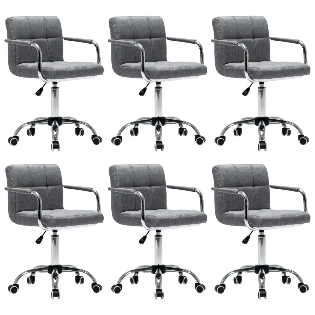 vidaXL Καρέκλες Τραπεζαρίας Περιστρεφόμενες 6 τεμ Αν. Γκρι Υφασμάτινες