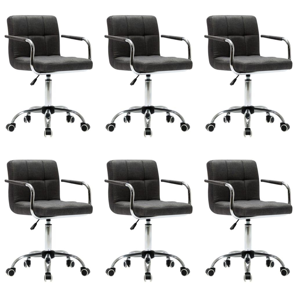 vidaXL Καρέκλες Τραπεζαρίας Περιστρεφόμενες 6 τεμ Σκ. Γκρι Υφασμάτινες