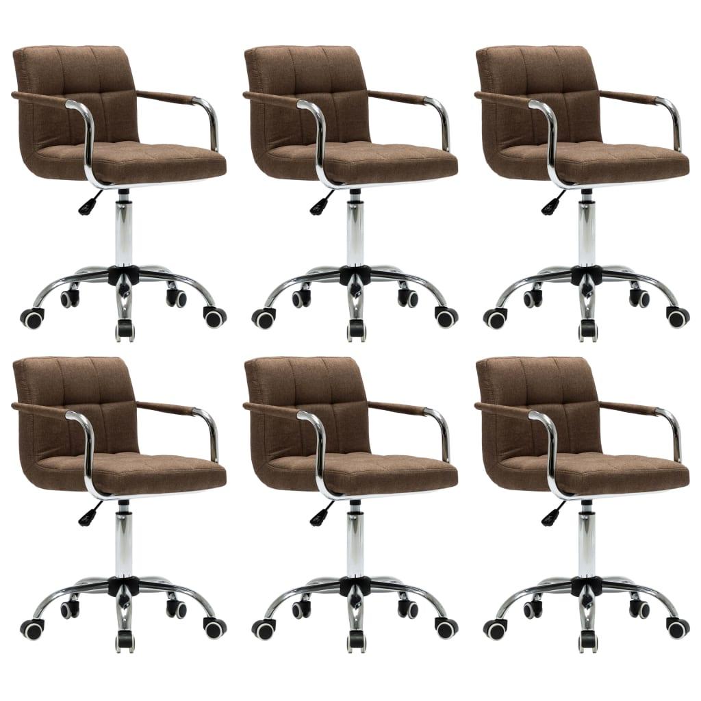 vidaXL Καρέκλες Τραπεζαρίας Περιστρεφόμενες 6 τεμ. Καφέ Υφασμάτινες