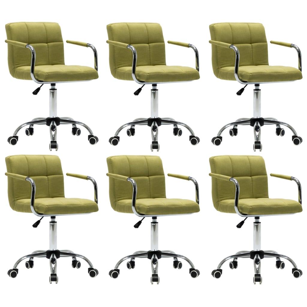 vidaXL Καρέκλες Τραπεζαρίας Περιστρεφόμενες 6 τεμ Πράσινες Υφασμάτινες