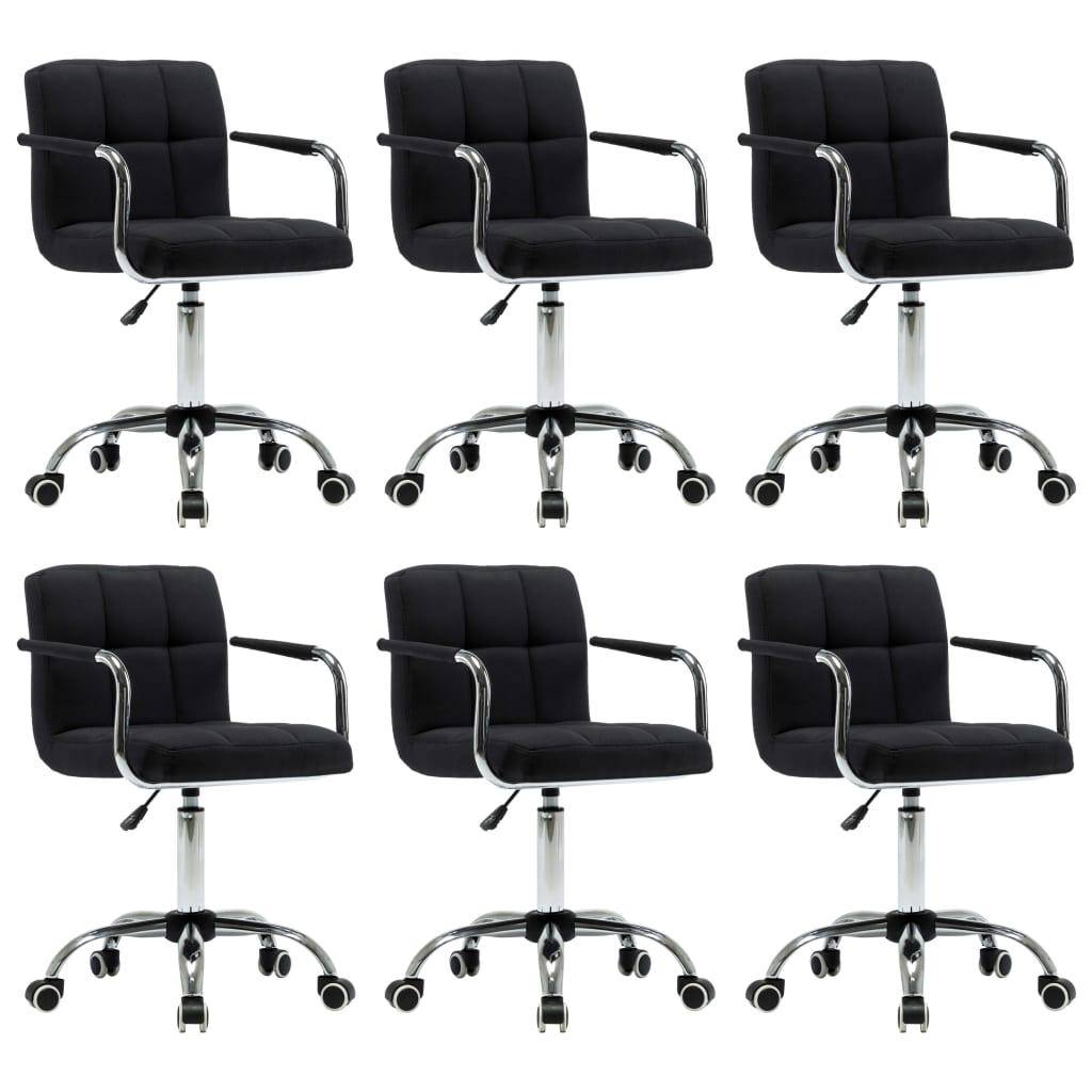vidaXL Καρέκλες Τραπεζαρίας Περιστρεφόμενες 6 τεμ. Μαύρες Υφασμάτινες