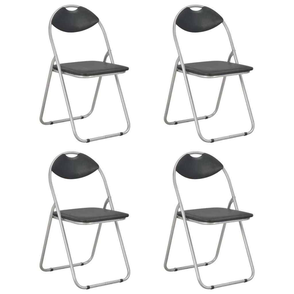 vidaXL Skládací jídelní židle 4 ks černé umělá kůže