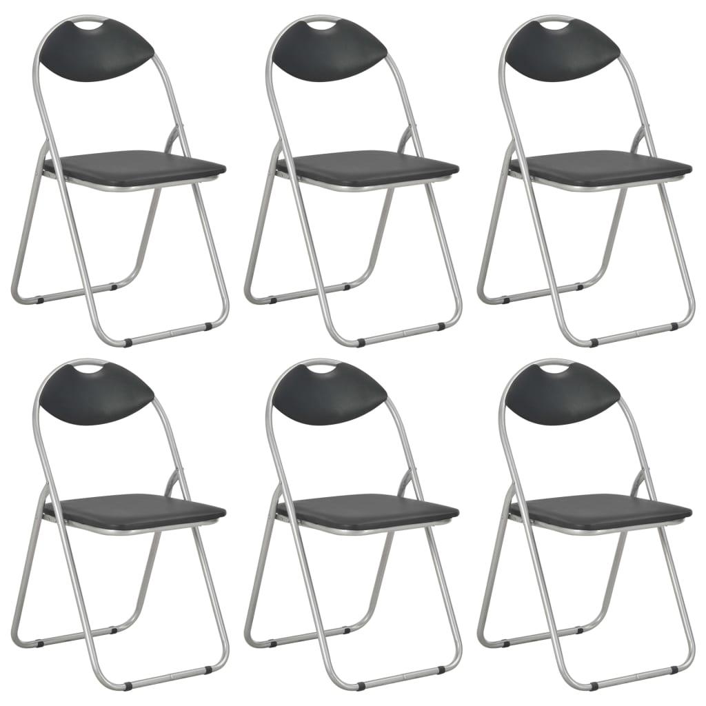 vidaXL sammenklappelige spisebordsstole 6 stk. sort kunstlæder