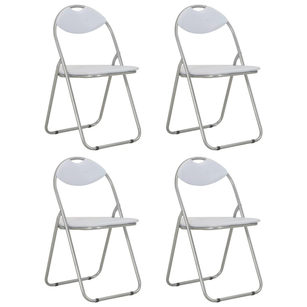 vidaXL Καρέκλες Τραπεζαρίας Πτυσσόμενες 4 τεμ. Λευκές Συνθετικό Δέρμα