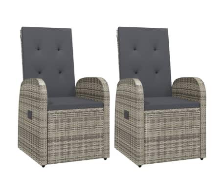 vidaXL Reclining Garden Chairs 2 pcs with Cushions Poly Rattan Gray