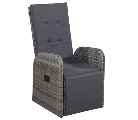 vidaXL Reclining Garden Chair with Cushion Poly Rattan Gray