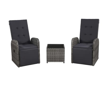 vidaXL 3 Piece Bistro Set with Cushions Poly Rattan Gray