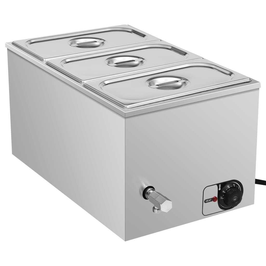 vidaXL Vodní lázeň pro ohřívání jídla nerezová ocel 1 500 W GN 1/3