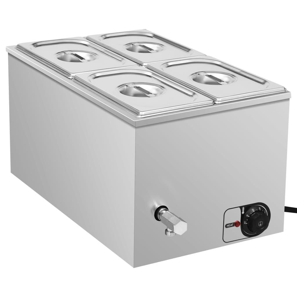 vidaXL Încălzitor alimente tip bain marie 1500W GN 1/4 oțel inoxidabil poza vidaxl.ro