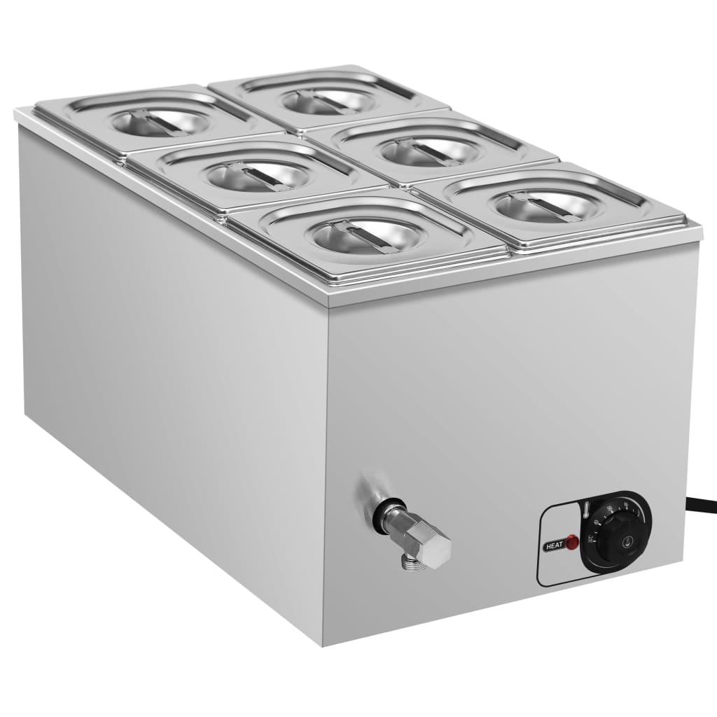vidaXL Vodní lázeň pro ohřívání jídla nerezová ocel 1 500 W GN 1/6