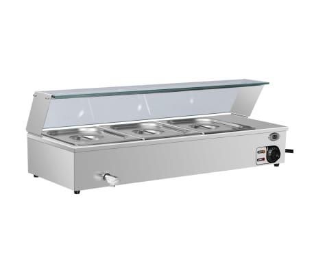 vidaXL Calientaplatos Gastronorm baño maría 3 pzas acero inox GN 1/2