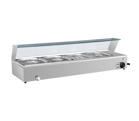 vidaXL Calientaplatos Gastronorm baño maría 4 pzas acero inox GN 1/2