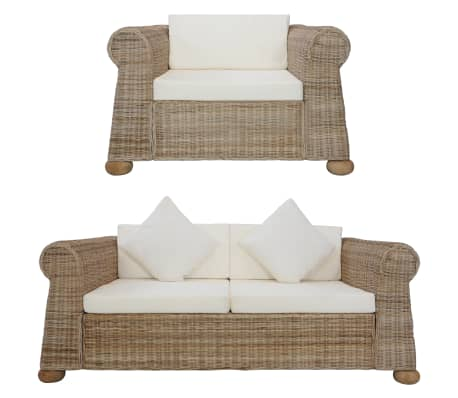 vidaXL 2 Piece Sofa Set with Cushions Natural Rattan