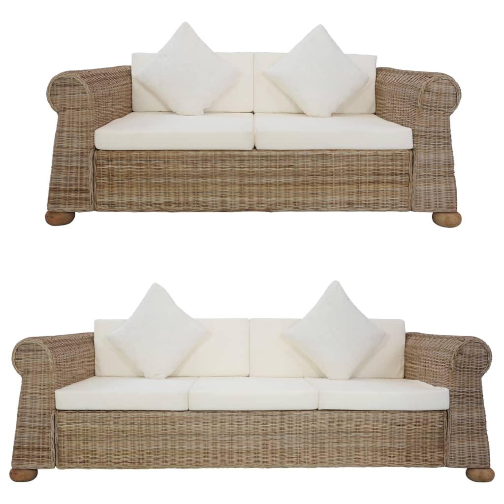 vidaXL Set de canapele cu perne, 2 piese, natural, ratan poza vidaxl.ro