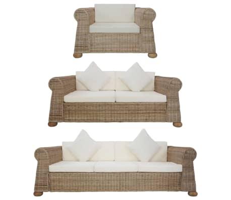 vidaXL 3 Piece Sofa Set with Cushions Natural Rattan