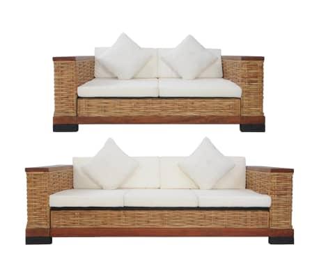 vidaXL 2 Piece Sofa Set with Cushions Brown Natural Rattan