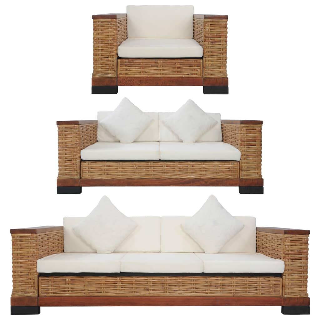 vidaXL Set canapele cu perne, 3 piese, maro, ratan natural poza 2021 vidaXL