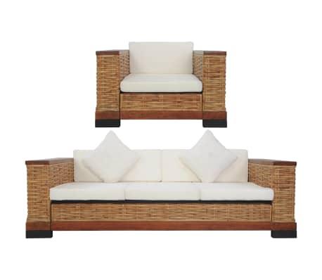 vidaXL Sofos komplektas su pagalvėlėmis, 2d., rudos sp., nat. ratanas[1/18]