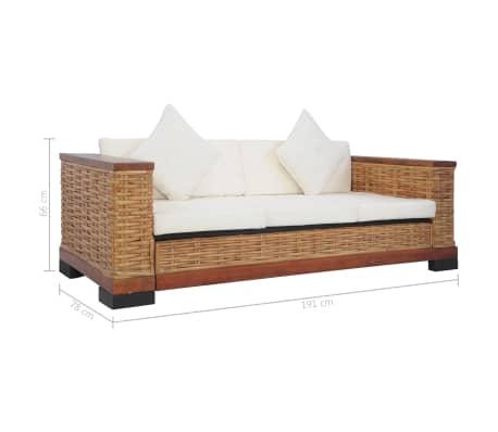 vidaXL Sofos komplektas su pagalvėlėmis, 2d., rudos sp., nat. ratanas[18/18]