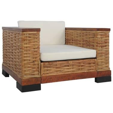 vidaXL Sofos komplektas su pagalvėlėmis, 2d., rudos sp., nat. ratanas[2/18]