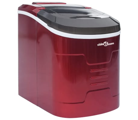vidaXL Ice Cube Maker Red 0.63 Gallon 33.1 lbs / 24 h