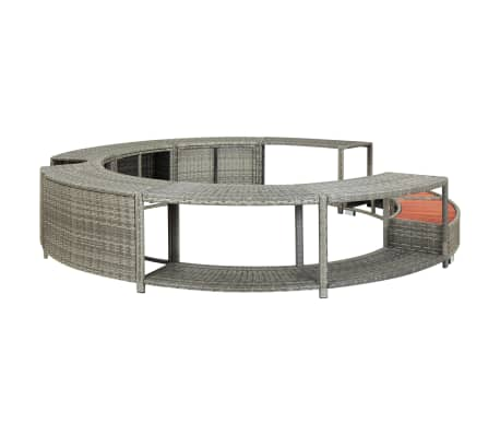 vidaXL Spa Surround Gray Poly Rattan[2/8]