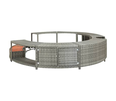 vidaXL Spa Surround Gray Poly Rattan[4/8]