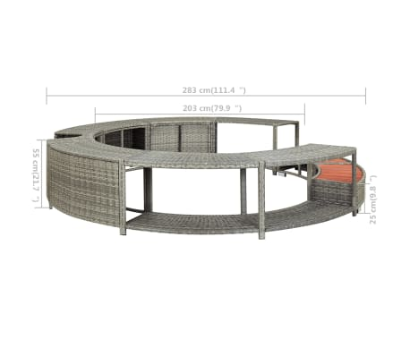 vidaXL Spa Surround Gray Poly Rattan[8/8]