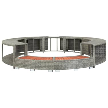vidaXL Spa Surround Gray Poly Rattan[3/8]