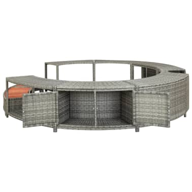 vidaXL Spa Surround Gray Poly Rattan[5/8]