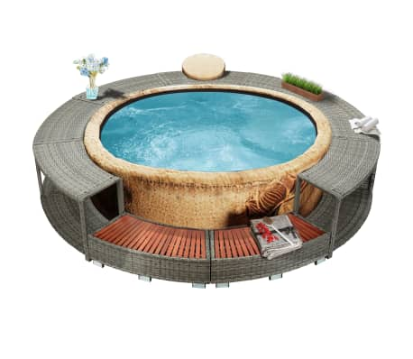 vidaXL Spa Surround Gray Poly Rattan[1/8]