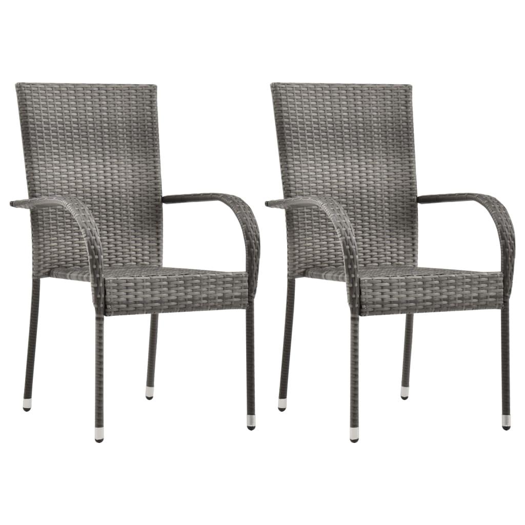 vidaXL Καρέκλες Κήπου Στοιβαζόμενες 2 τεμ. Γκρι από Συνθετικό Ρατάν